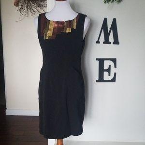 Asymmetrical sequin design black dress